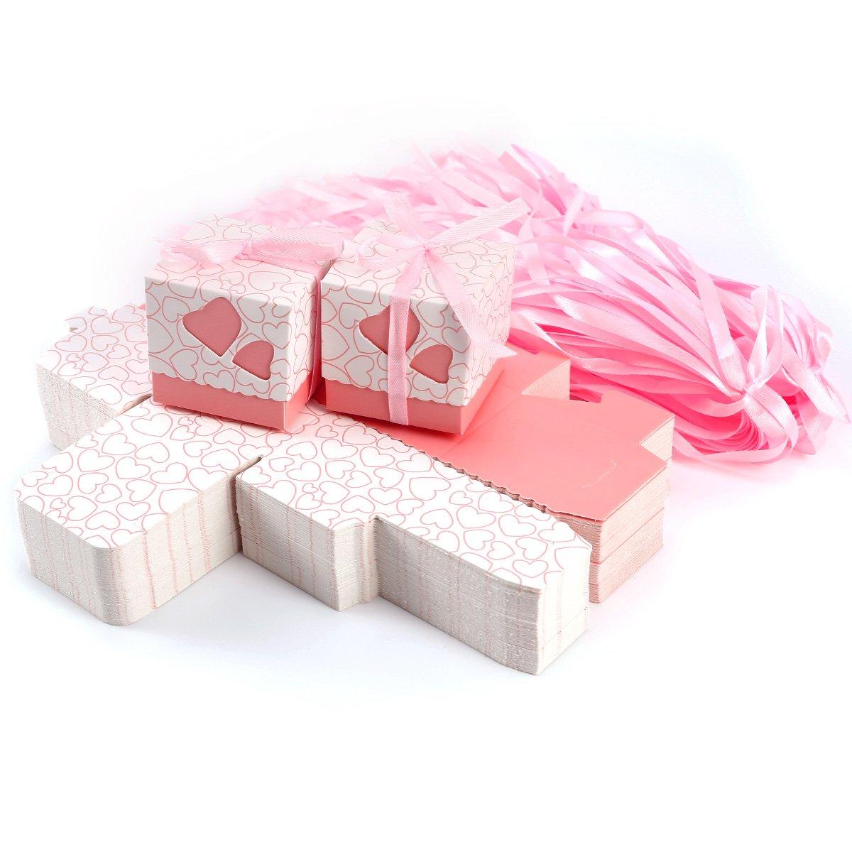 Scatole a forma di cuore - 100pezzi Ideale come bomboniera per Matrimonio. Diversi colori. Pink