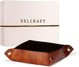 Belcraft Lari Svuotatasche in Pelle Riciclata, Realizzato a mano da Artigiani Toscani, Porta Oggetti, Marrone Chiaro (18x18 cm)