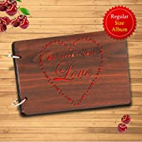 Sehaz Artworks Need Love Wooden Scrapbook Photo Album for Memorable Gift on Boyfriend Girlfriend Husband Wife Spouse Birthdays, Valentines Day, Anniversary, Monthsary for Couples