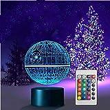 3D Optische Illusions Lampen LED 7 Farben Touch Schalter Ändern Nachtlicht Für Schlafzimmer Home Decoration Hochzeit Geburtstag Weihnachten Valentine Geschenk Romantische Atmosphäre (Todesstern)