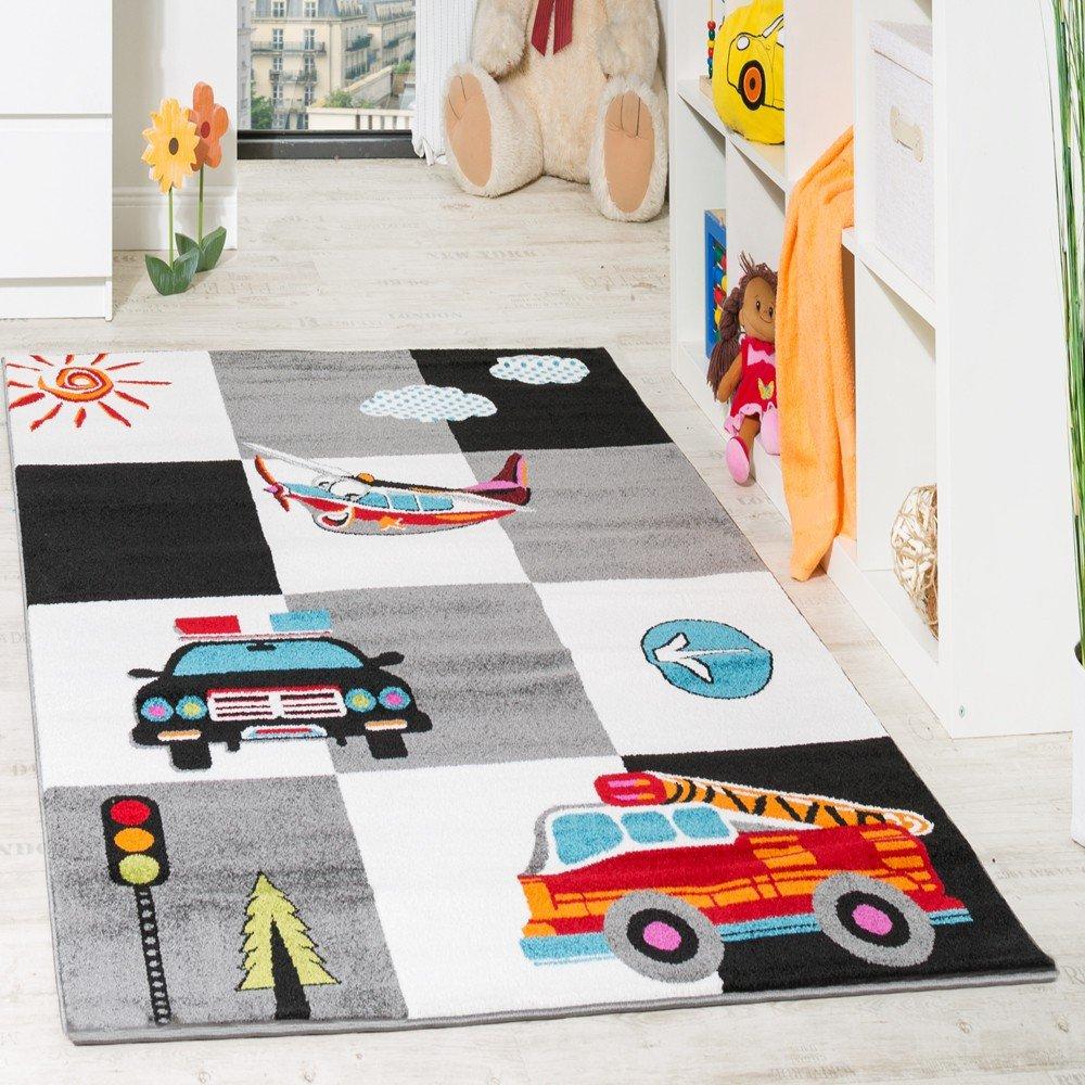 Amazon.de: Kinderteppich Spielteppich Polizei Feuerwehr Flugzeug ...