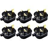 Quazilli 6 Pack 3 Pin Plug 13 Amp Plugs Fused Mains Plugs UK Plug Black
