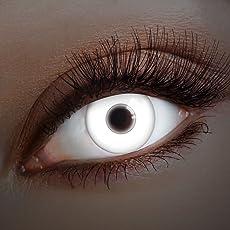 aricona Farblinsen UV Kontaktlinsen weiß zum Zombie Kostüm Halloween Schminke