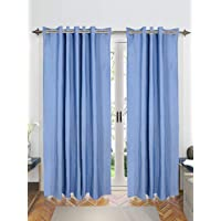 Saral Home Chawla Collection Blue Stripes Cotton Yarn Eyelet Door Curtains - (Set of 2, 4x7 Feet)