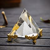 """H&D HYALINE & DORA Pyramid Prism 2.4""""- Meditation Crystals Home Art Decor Feng Shui for Prosperity Positive Energy with Gold"""