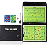 RoseFlower 17.32'' x 12.6'' Coaches Tactical Board, Portable Professional Football/Soccer Magnetic Tactics Board Training Ass