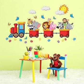wall art R00125 - Adesivo da Parete per Bambini Animali in Viaggio ...