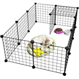 Newrainbow Pet Playpen Metal,Metal Pet Folding Playpen Dog Kennel Pets Fence Exercise Cage 12 Panels Metal Wire Yard Fence fo