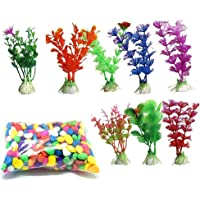 Kapoor Pets Aquarium Decoration Kit Colorful Artificial Plant Colorful Rainbow Gravel Pebble Stone Substrate for Fish…