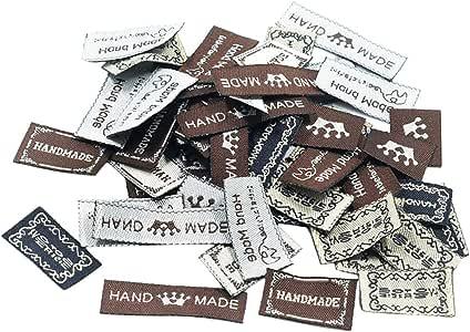 """100x Bunte Ovale /""""Handmade/"""" Nähen Etiketten Webetiketten Holz Label"""