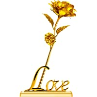 Miradh 24K Gold Rose with Gift Box (Gold Rose with Love Stand), Best Gift for Mother's Day, Valentine's Day, Day, Birthday, Christmas, Thanksgiving, Home Décor