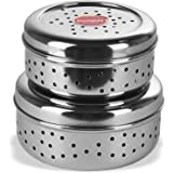 Sumeet Stainless Steel Hole Puri Dabbas/Flat Canisters with Air Ventilation Size No.8-12.5cm Dia & No. 9-14 cm Dia