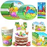 Amycute 110pcs 20 Invitados Juego de Dinosaurio Vajilla de Papel Diseño Dinosaurio Cubiertos de Verde Platos Vasos para Tema