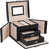 SONGMICS Boîte à Bijoux, Mallette à Bijoux, Coffret à Bijoux de Voyage, Organisateur de Bijoux Portable, avec 2 tiroirs, Miro