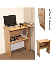 Spacecrafts Wooden Folding Computer Table Mate for Laptop Study Office Desk (Standard, Beige)