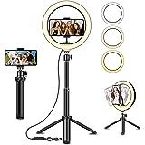SYOSIN LED-ringlampa med utdragbart stativställ, 20 cm LED selfie-ringlampa & telefonhållare med 3 färglägen och 10 ljusstyrk