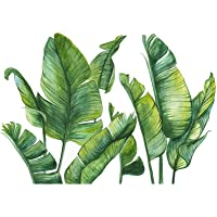 Autocollant Papier Amovible Sticker Mural Décoration Vert Nordic Vert Feuille Plante Stickers Muraux Salon Chambre…