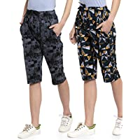 UZARUS Women's Cotton Three Fourth Capri Shorts with Two Zippered Pockets (Pack of 2)