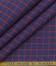 Soktas Dark Blue100% Premium Cotton Red Checks Shirt Fabric (1.60 M)