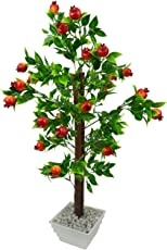 FancyMart Artificial Pomegranate Fruit Bonsai Tree with White Square Pot(Height 60 cms / 24 inchs)