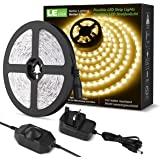 LE Dimmable LED Strips Lights Kit, 5M 1200lm, Warm White 3000K, 300 LEDs, Plug in Light Strip for Cabinet Wardrobe Cupboard B