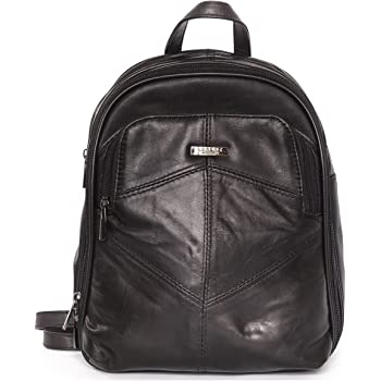 3260f03ffd Ladies Black Sheep Nappa Leather Backpack Handbag with 3 zipped compartments