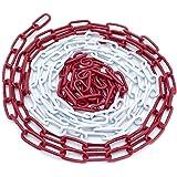 Afsluitketting rood-wit 5 m, 10, 15 m, 26 m stalen schakels 5 mm ronde stalen ketting waarschuwingsketting bouwplaatsketting