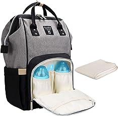 Baby Wickelrucksack Wickeltasche mit Wickelunterlage Multifunktional Oxford Große Kapazität Babytasche Kein Formaldehyd Reisetasche für Unterwegs