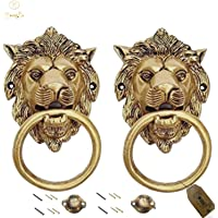 Vyomika Decor Designer Lion Mouth (Yellow Antique) Brass Door Knocker Set of 2 Pieces