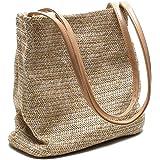 Ulisty Liten halmväska vävd väska sommar strand väska axelväska handväska hink väska för kvinnor/flickor