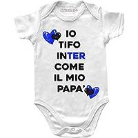 Body Neonata Inter Divertenti Manica Corta - Io Tifo Inter Come Il Mio papà - Body Bambina Unisex 100% Cotone…