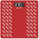 Dr. Fit Glass Top Electronic Digital Weighing Scale (Red)