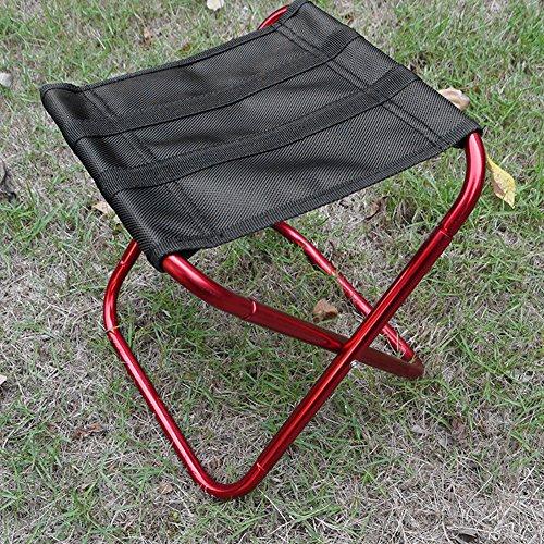 Tabouret Chaise pliante portable en aluminium pour extérieur Pêche Camping pique-nique (Rose rouge)