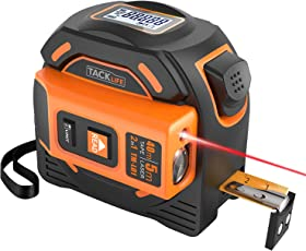 Massband Laser Entfernungsmesser, Tacklife TM-L01 Maßband Laser Messgerät Entfernung mit LCD Hintergrundbeleuchtung, Doppelseitige Skala Bandmass Bandmaß mit Magnet Haken