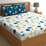 Dreamscape Twill 100% Cotton Double bedsheet with 2 Pillow Covers Set, 180TC Floral Blue bedsheets for Double Bed Cotton…