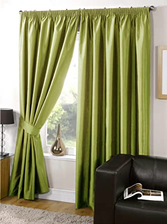 Living Room Curtains amazon living room curtains : Faux Silk Curtains Fully Lined Plain Lime Green Curtains Pencil ...