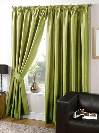 Green Curtains amazon green curtains : Faux Silk Curtains Fully Lined Plain Lime Green Curtains Pencil ...