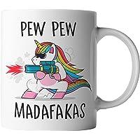 vanVerden Tasse - Pew Pew Madafakas - schießendes Einhorn - beidseitig Bedruckt - Geschenk Idee Kaffeetassen…