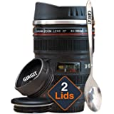 GIRGIT Camera Lens Mug/Thermos for Coffee with 2 Lid with Spoon, Steel Insulted Camera Lens Coffee Travel Mug/Thermos, Camera