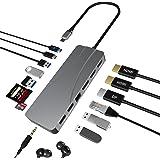 Hub USB C, 14 en 1 Tipo C Adaptador de estación de Acoplamiento con 2 HDMI y DP, 60W PD, 1 Gbps Ethernet, USB-C y 3 Puertos d