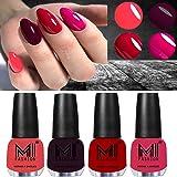 MI FASHION Ultra High 3D Shine Longest Lasting Nail Polish Set Paint Combo 12ml Each Pink, Maroon, Tomato Red, Magenta…