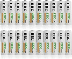 EBL 20 Pack 2300mAh Ni-MH Precharged Rechargeable AA Batteries