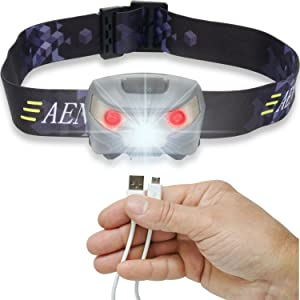 Aennon USB Wiederaufladbare LED Stirnlampe Kopflampe
