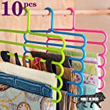 TONY STARK Closet Organizer Space Saving Plastic Multi-Functional Storage Wardrobe Clothes Organizer Hanger for Shirts, Pants, Skirts-32 L x 31 H x 5 W (cm) (Multicolour, Set of 10)