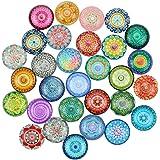 N\A RtottiM 30 stycken kylskåpsmagneter dekorativa glascabochoner glasmagneter med mandala mönster färgglada kylskåpsmagneter