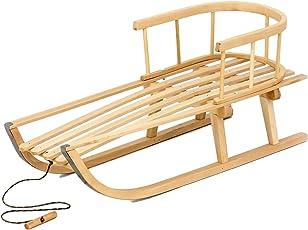 Kinder Holz Schlitten Rückenlehne Holzschlitten Kinderschlitten 90 cm Kinderspielzeug