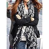 Liroyal, sciarpa foulard in chiffon con stampa teschi, unisex, elegante e morbida, Black, taglia unica