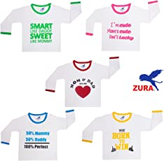 ZURA Baby Boy's and Baby Girl's Cotton Round Neck T-Shirt - Pack of 5