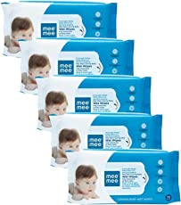 Mee Mee Caring Baby Wet Wipes with Aloe Vera (72 pcs/Pack) (Pack of 5)