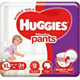 Huggies Wonder Pants, Extra Large (XL), Size Baby Diaper Pants, 12 - 17 kg, 34 count, with Bubble Bed Technology for comfort
